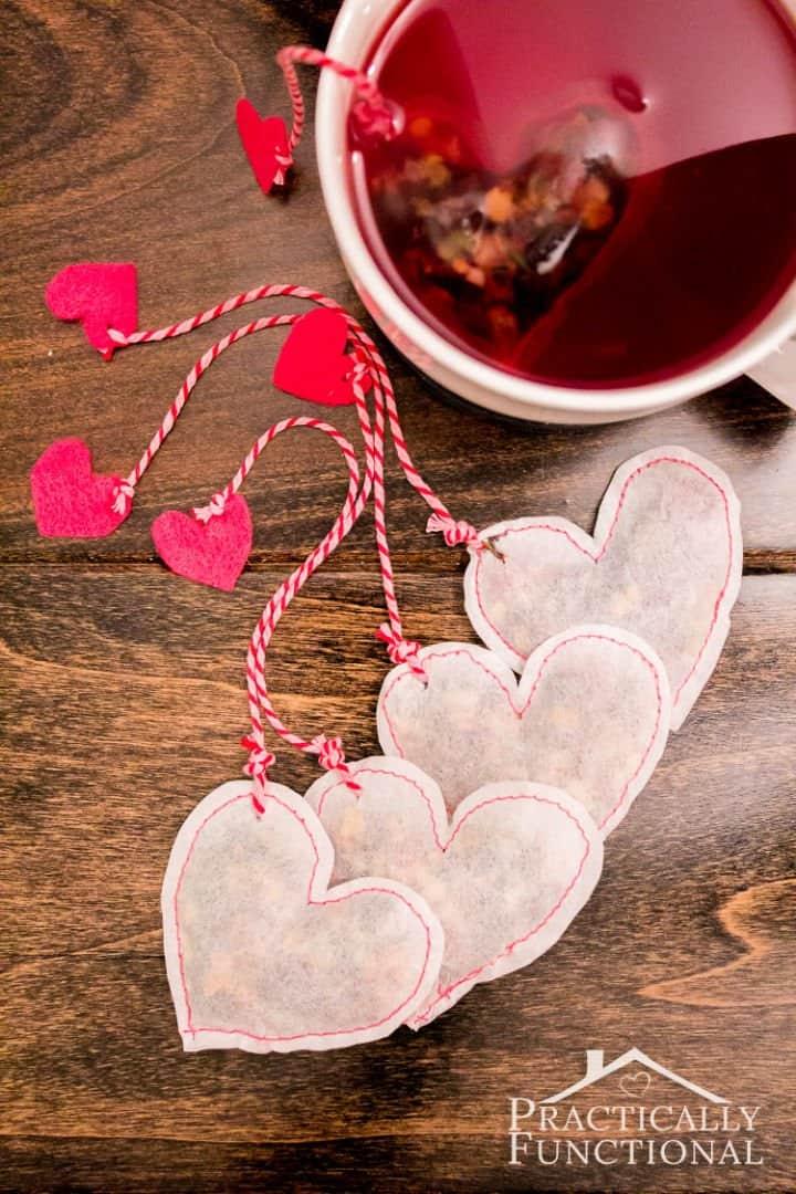 Bolsitas de té en forma de corazón