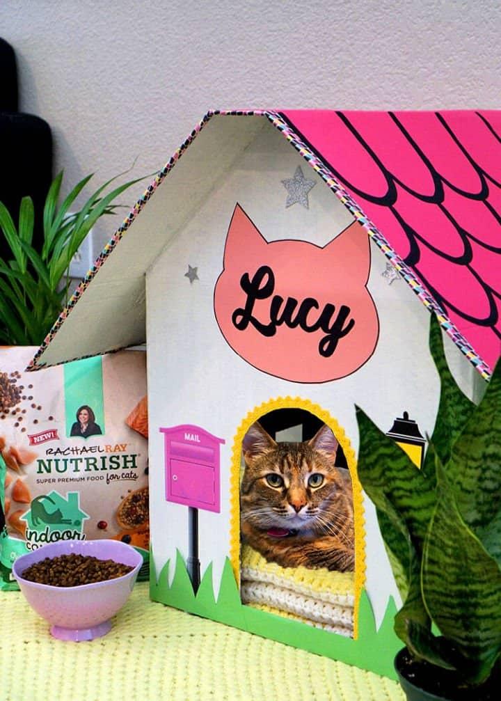 Casa casera de cartón para gatos