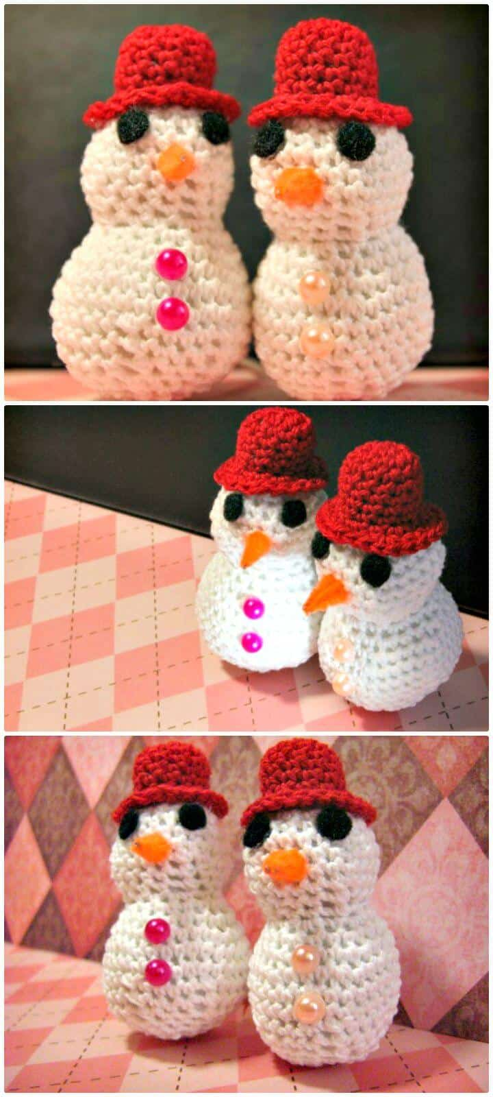 Patrón de muñeco de nieve de ganchillo gratis fácil