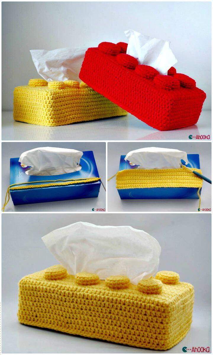 Cómo hacer crochet gratis un patrón de cubierta de caja de pañuelos de ladrillos Lego
