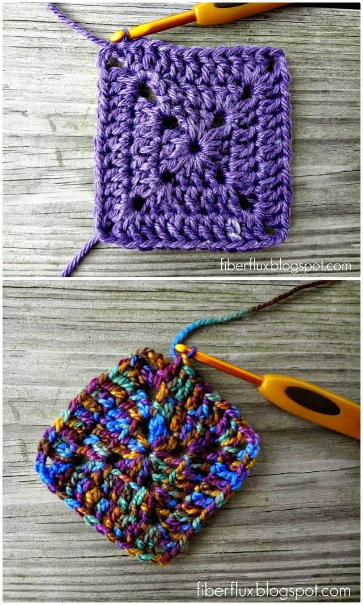 Cómo hacer crochet gratis fácil un cuadrado de abuelita sólido