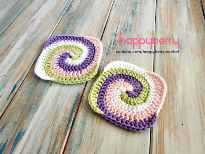 Crochet gratis un patrón cuadrado de abuelita en espiral