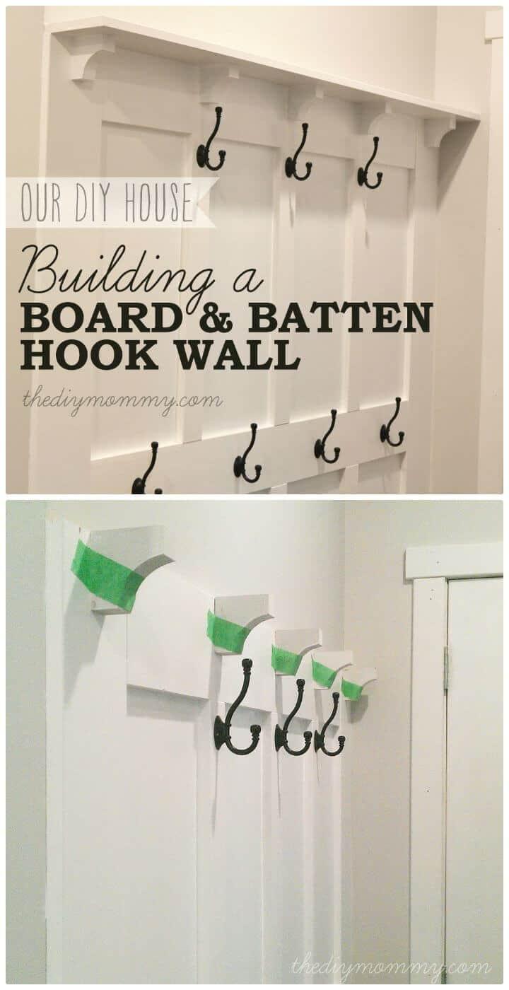 Tutorial de pared de gancho de entrada de listón y tablero de bricolaje fácil