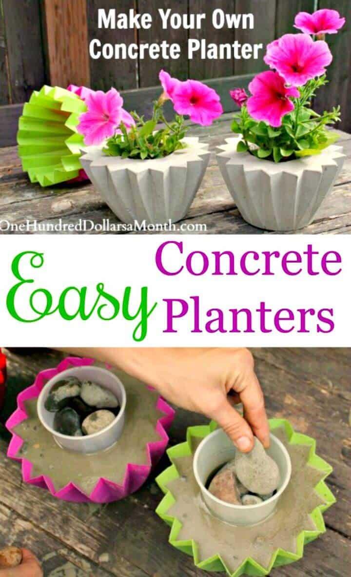 Jardinera de hormigón de bricolaje para jardín interior
