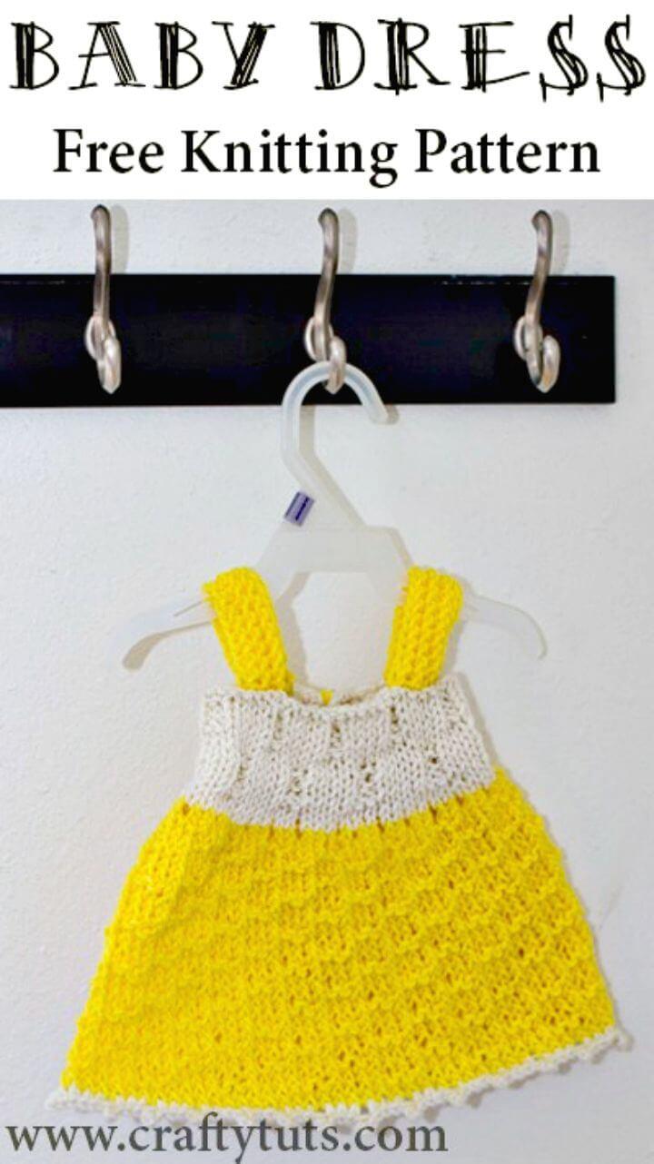 Patrón de vestido de bebé Sunshine de tejer fácil y gratis