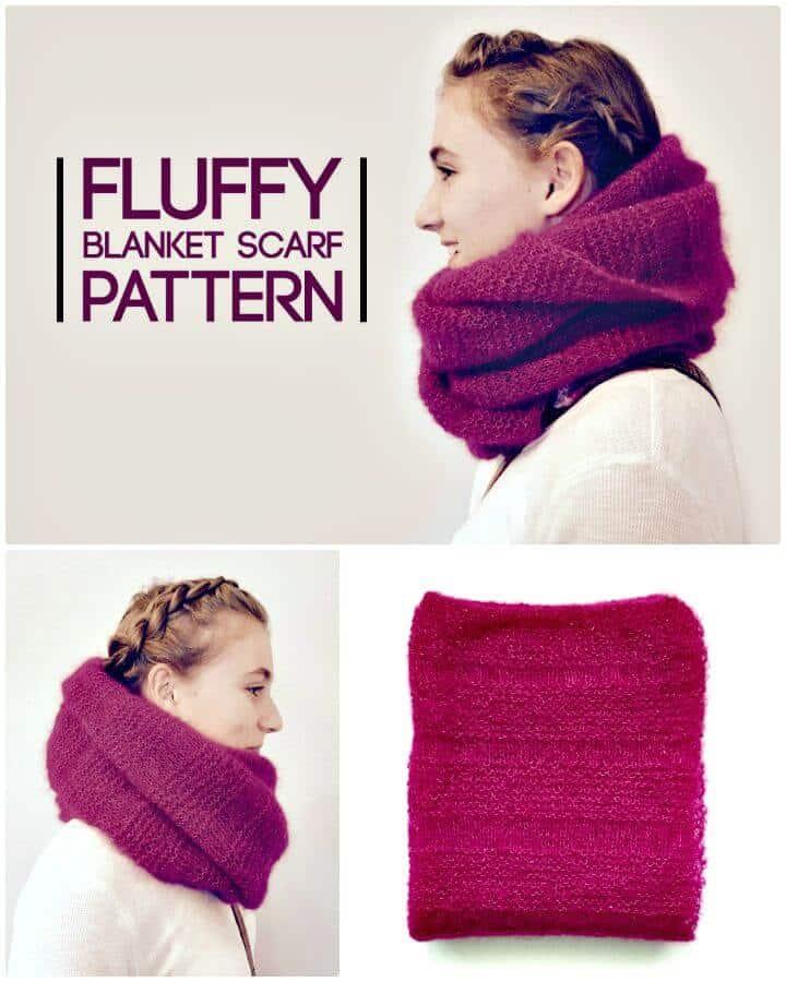Patrón de bufanda de manta esponjosa de tejido fácil
