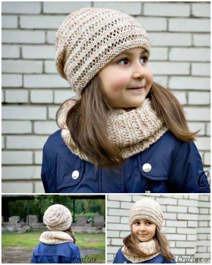 Conjunto de gorro y capucha fácil de tejer con patrón Kari