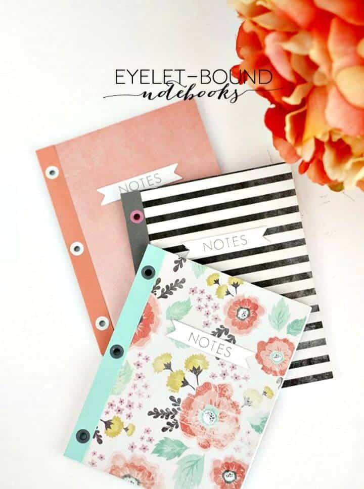 Cubierta de cuadernos encuadernados con ojales de bricolaje