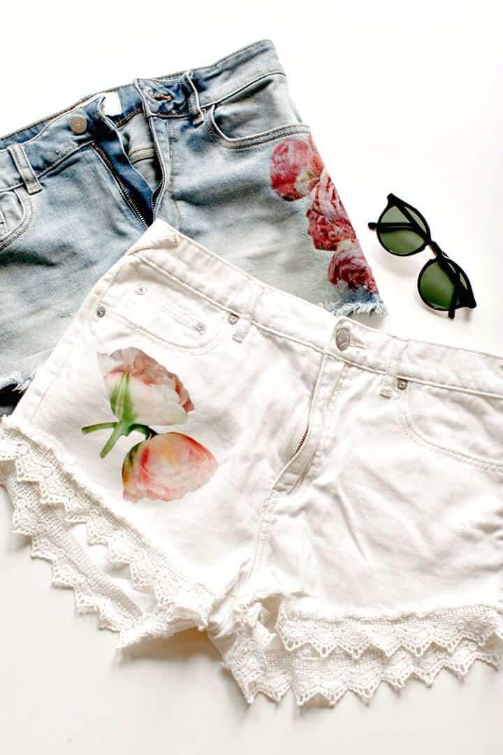 Cómo hacer pantalones cortos de transferencia de fotos florales - DIY