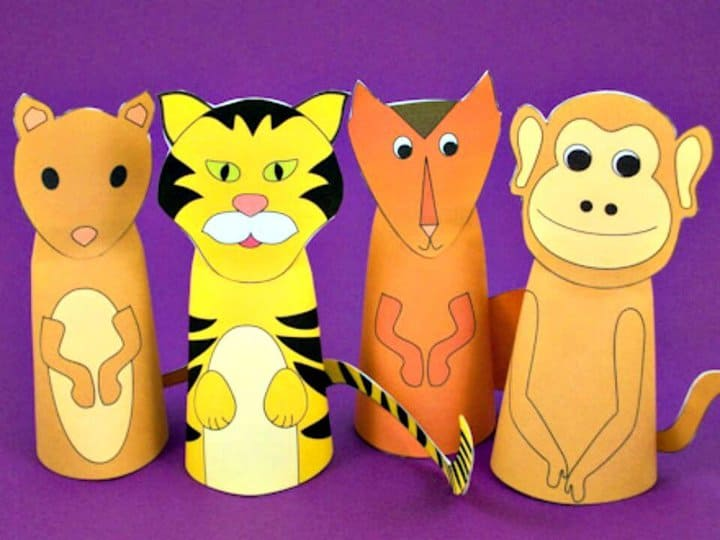 Marionetas de dedo de cono de papel de bricolaje