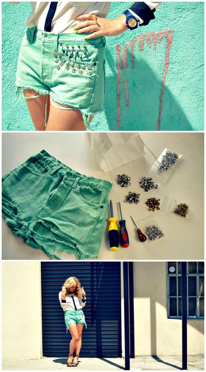 Cómo hacer pantalones cortos con tachuelas y otras cosas: trajes de bricolaje para el verano