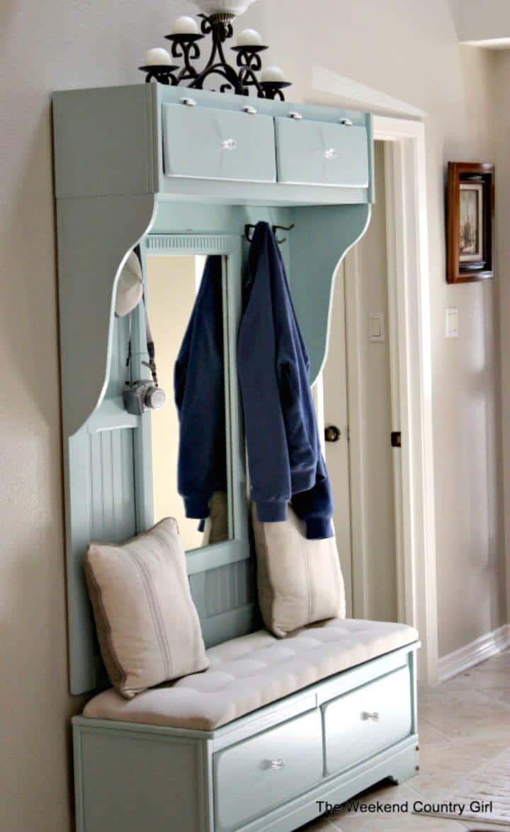 Tutorial de cómo convertir una cómoda en un banco de entrada de Mudroom