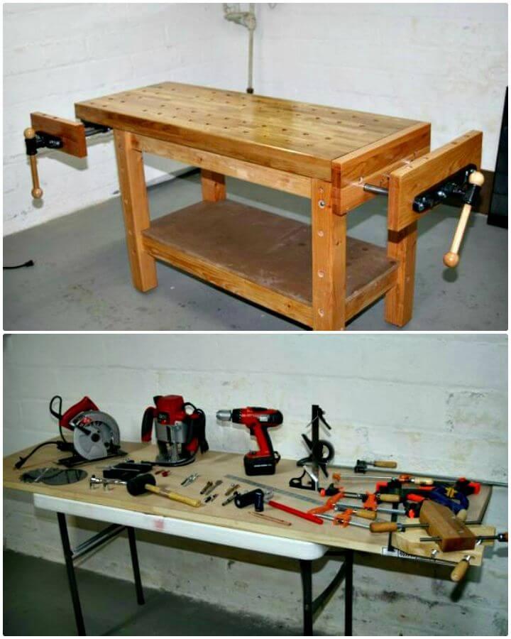 Tutorial fácil de cómo construir un banco de trabajo de carpintero real