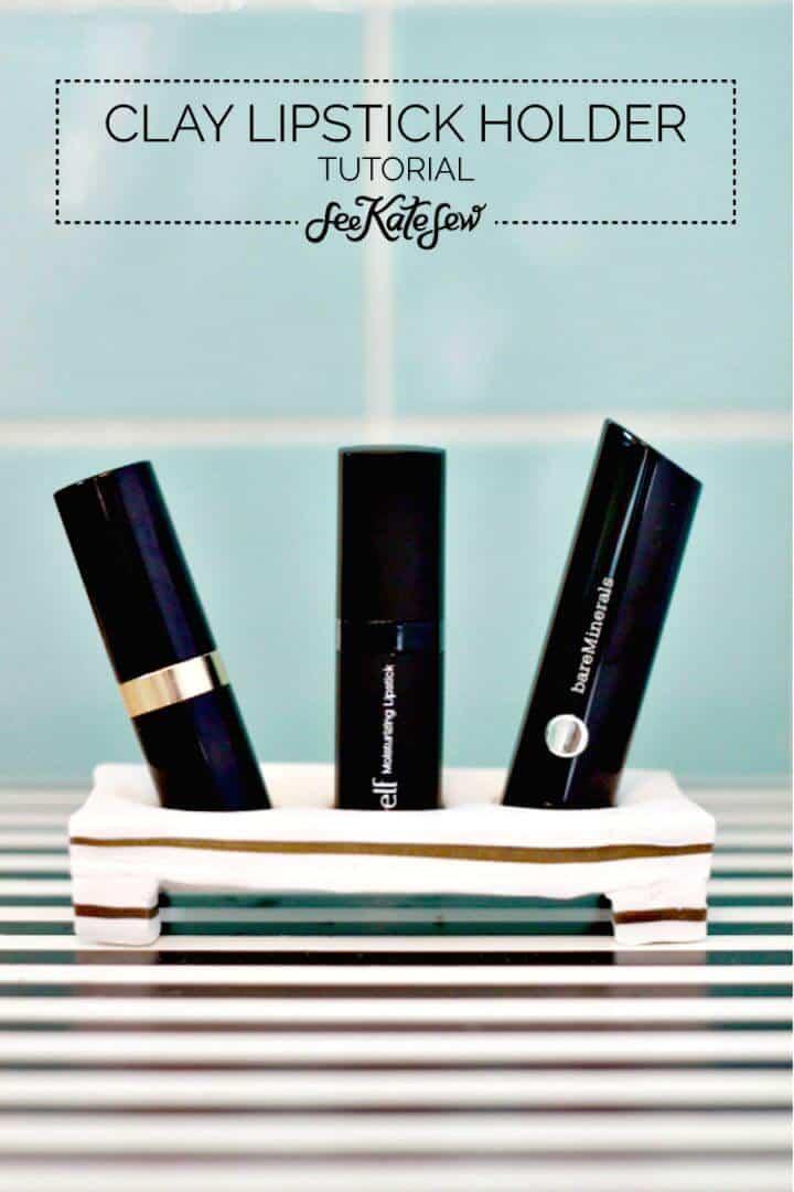 Cómo crear un soporte para lápiz labial de arcilla - Organizador de maquillaje para bricolaje