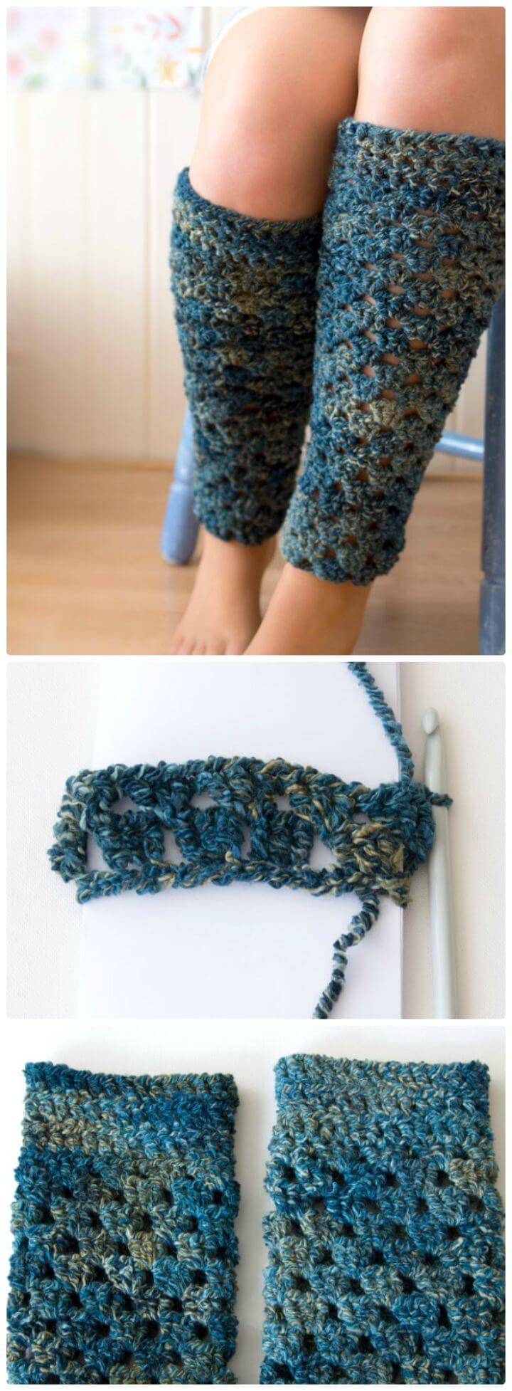 Crochet gratis un par de patrones de calentadores de piernas