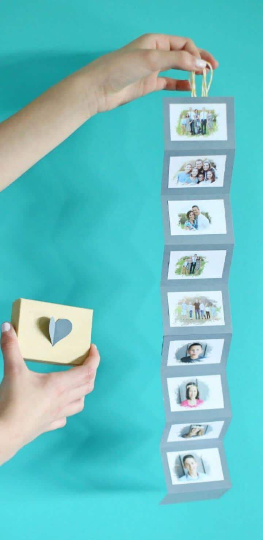 Cómo hacer una caja de fotos de acordeón de bricolaje
