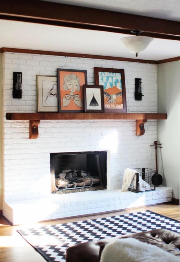 Increíble chimenea de ladrillos pintados en blanco de bricolaje