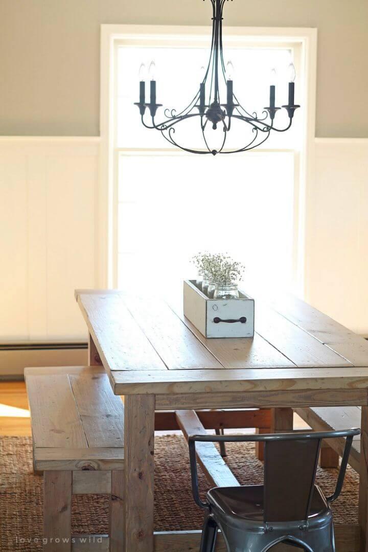 Mesa de comedor de mesa de granja de bricolaje económica
