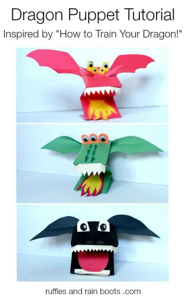 Marionetas de dragón de papel de bricolaje