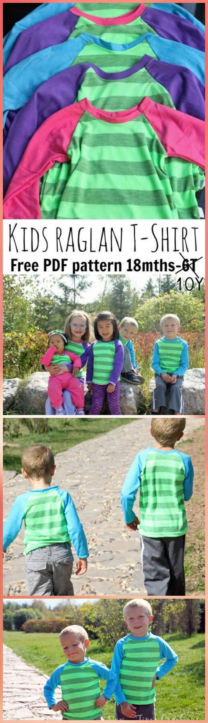 patrón de camiseta raglán fácil para niños