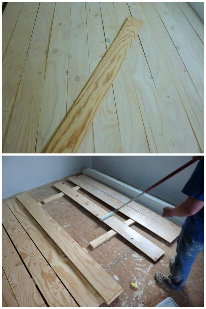Pisos de tablones de madera contrachapada de bricolaje de bajo presupuesto