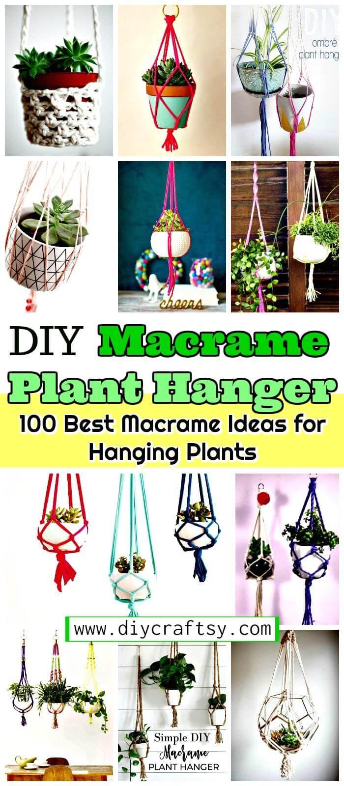 Colgador de plantas de macramé - 100 mejores ideas de macramé para plantas colgantes - Jardineras colgantes de bricolaje
