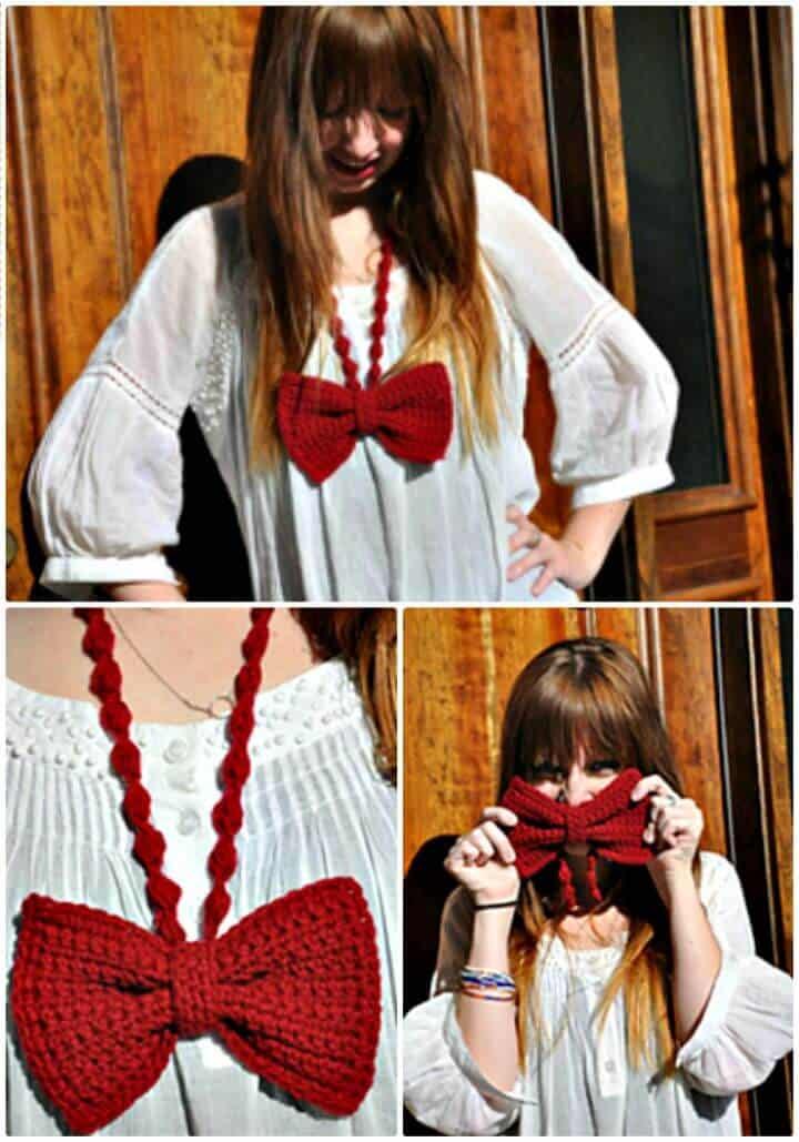 Crochet A Bow - Patrón de collar de corbata gratis