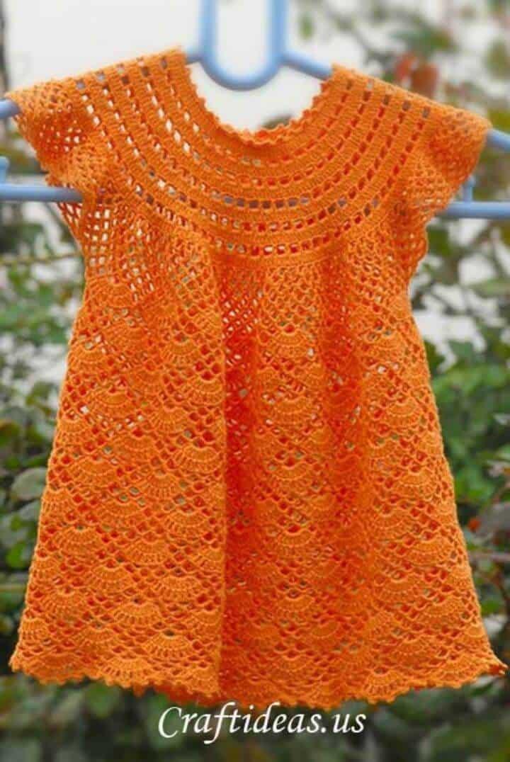 Vestido de crochet para niña de 3 años - Patrón gratuito