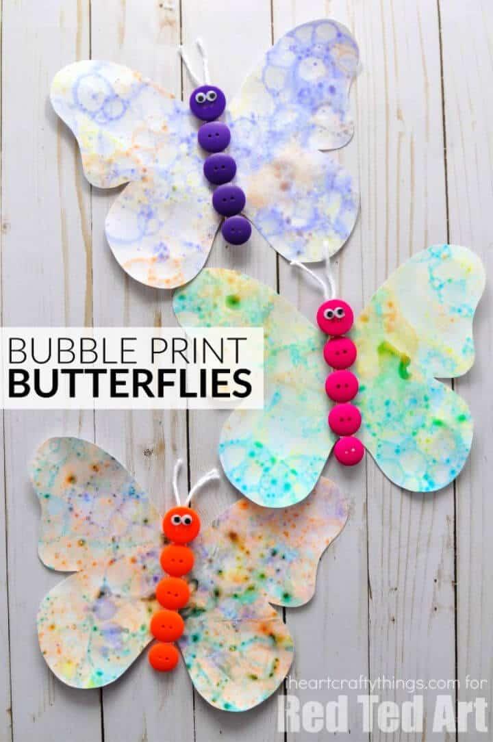 Hacer mariposas de Bubble Art para el campamento