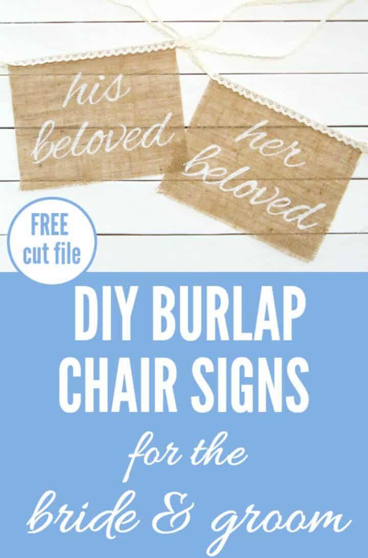 Letreros de silla de arpillera de bricolaje para la novia y el novio