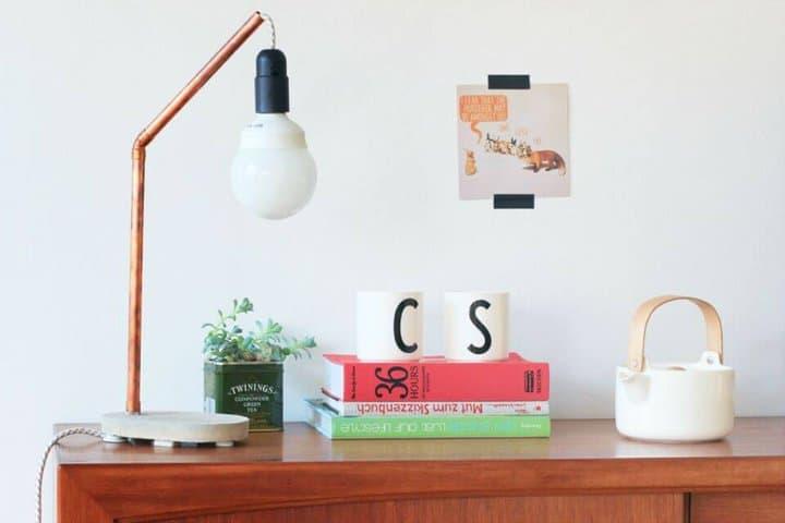 Lámpara de hormigón de cobre DIY