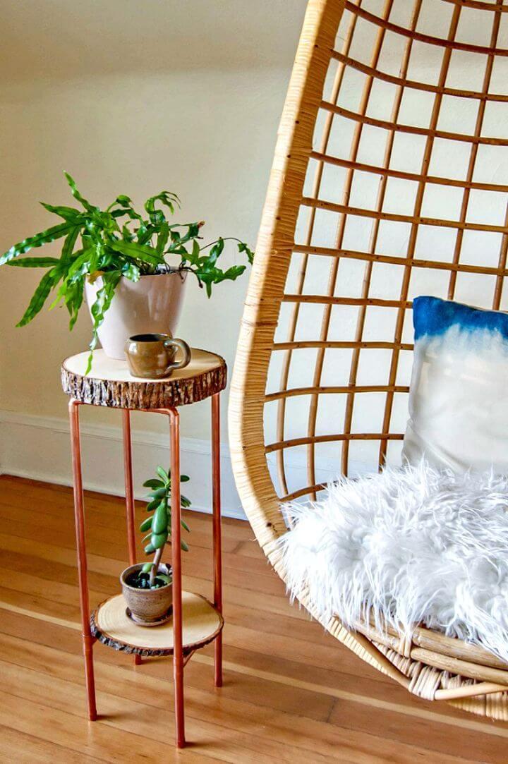 Haga una tubería de cobre y una mesa de rebanadas de madera - Ideas y proyectos de decoración del hogar Shabby Chic