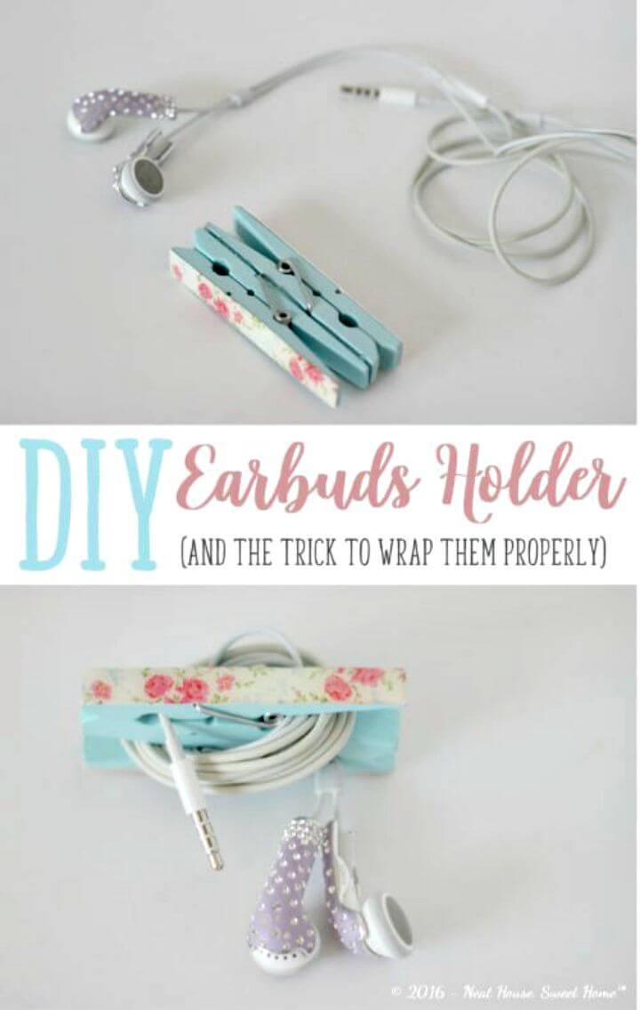 Hacer un soporte para auriculares con pinzas para la ropa - bricolaje