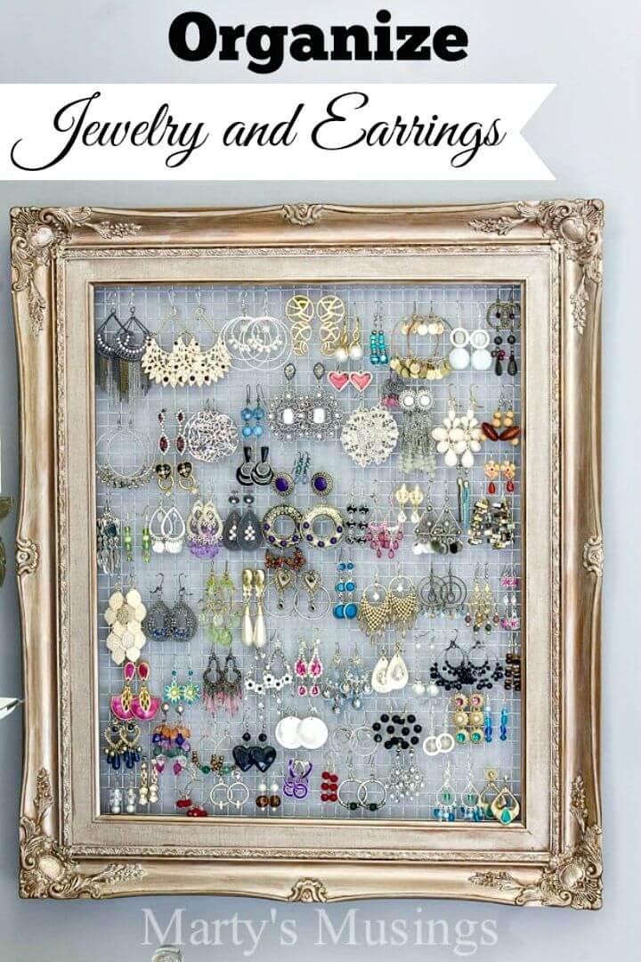 Organizador de pendientes y joyas con marco de bricolaje