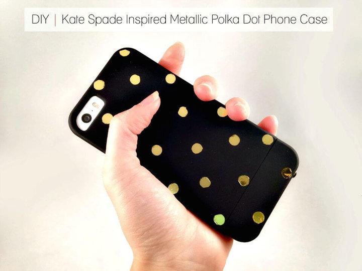 Funda para teléfono con lunares metálicos inspirada en Kate Spade de bricolaje