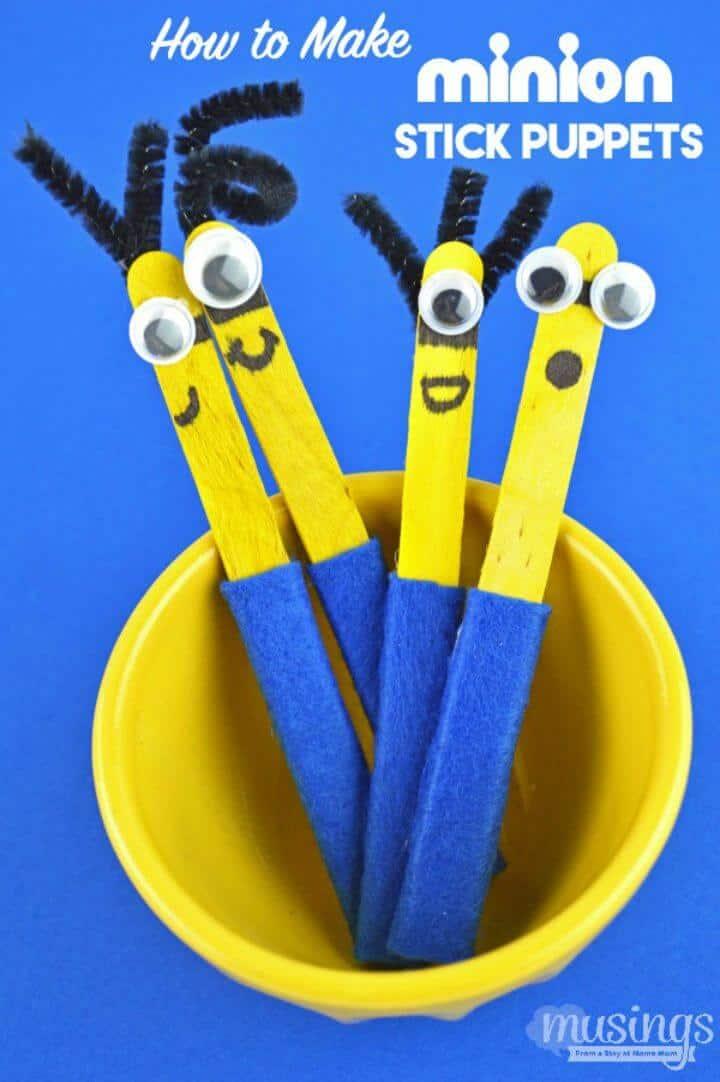 Cómo hacer títeres de palo de Minion - DIY para que jueguen los niños
