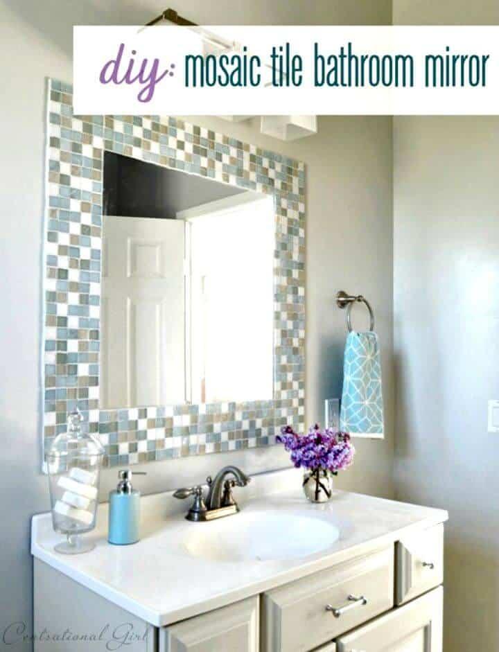 Hacer espejo de baño de azulejos de mosaico