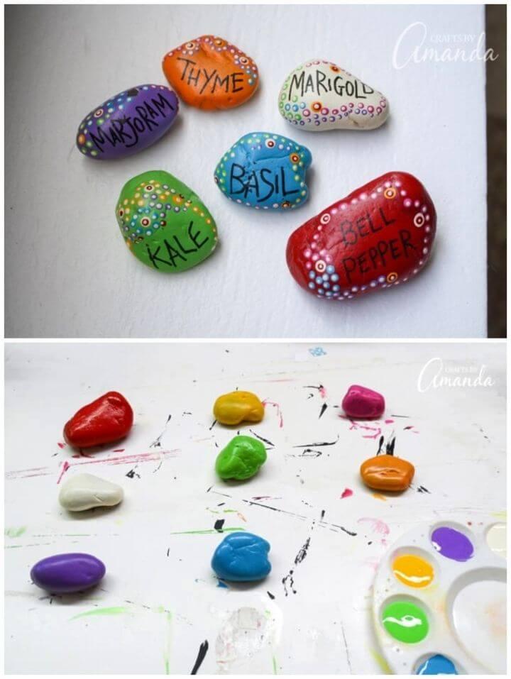 Haga marcadores de jardín de rocas pintadas, rocas pintadas para exteriores
