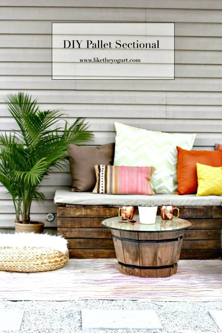 Haga la paleta seccional para el jardín - Ideas de muebles de bricolaje