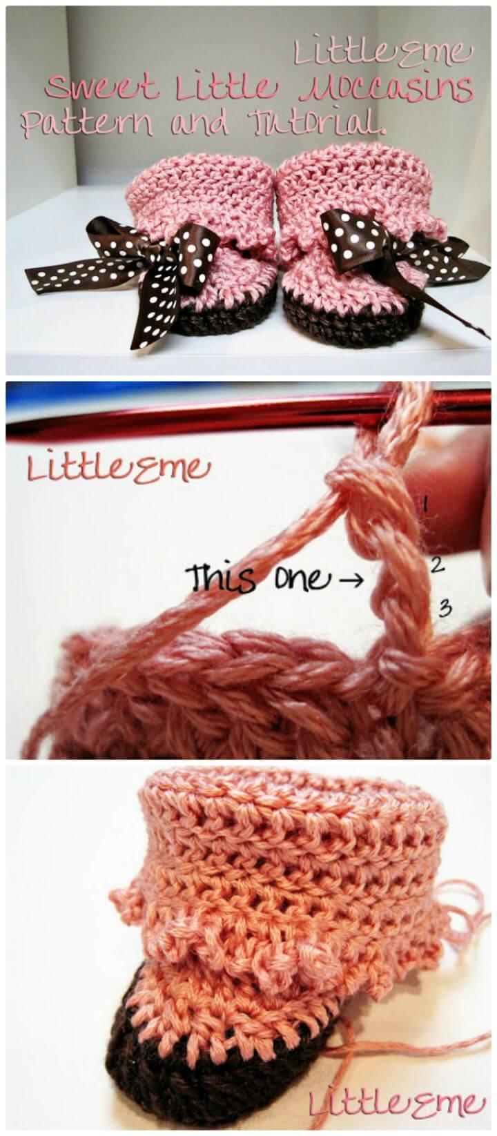 Tutorial y patrón de crochet gratis para hacer mocasines para bebés
