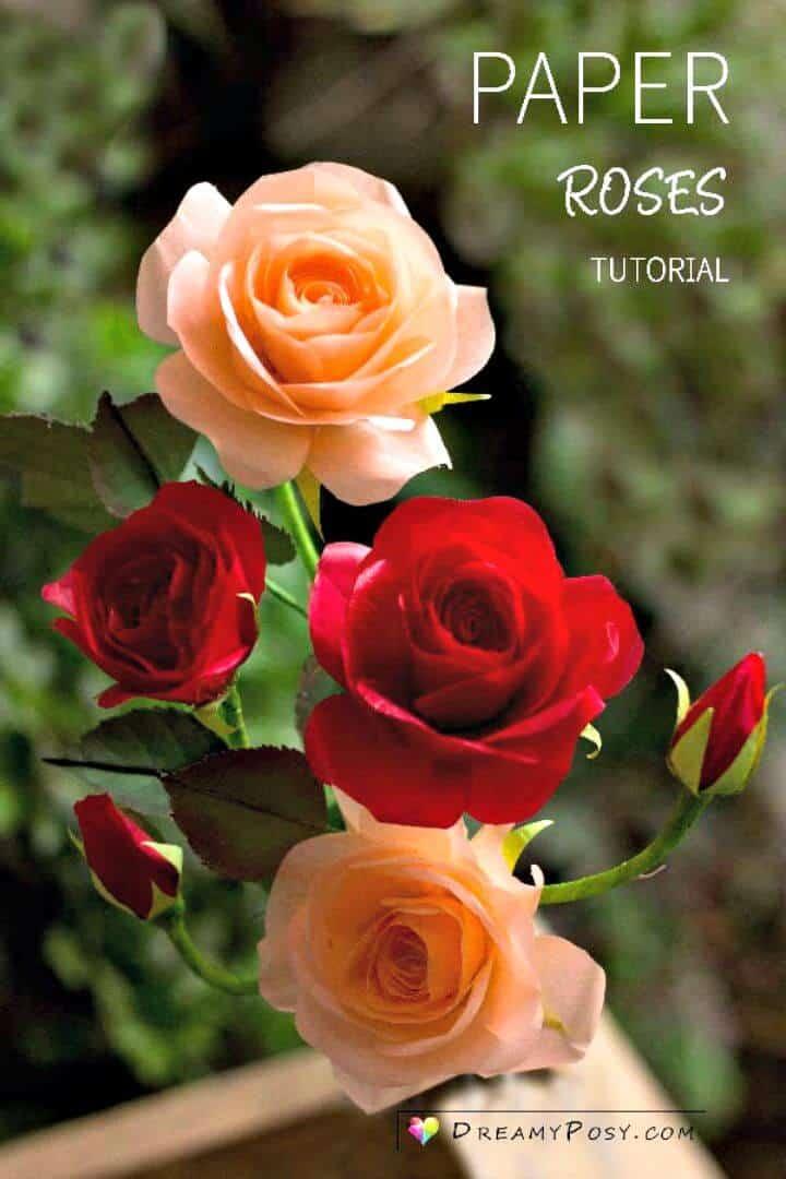 Rosa de papel de seda fácil de bricolaje