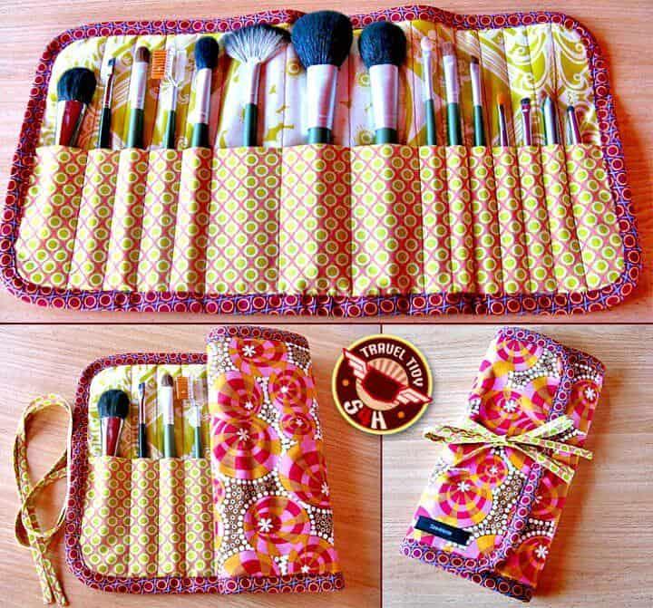 Haga un estuche enrollable para pinceles de maquillaje - Organizador de maquillaje DIY