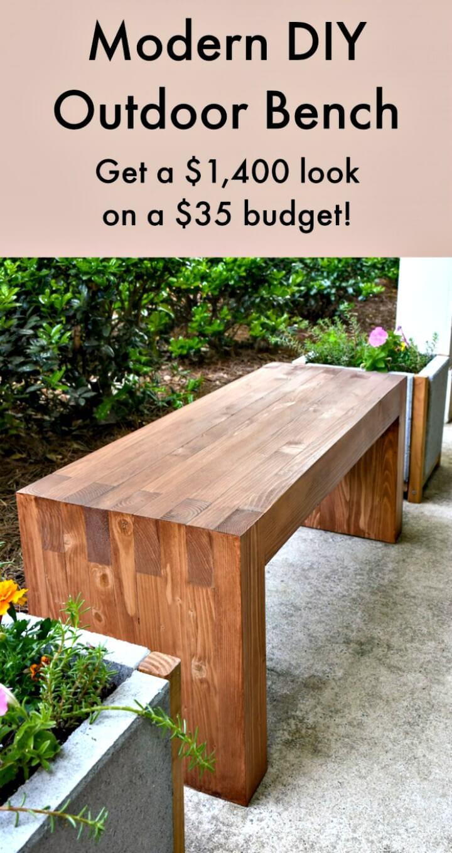 Banco al aire libre de bricolaje moderno por $ 35 - Ideas de muebles de jardín