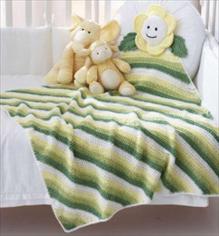 patrón de manta de bebé fácil de margaritas de esquina a esquina