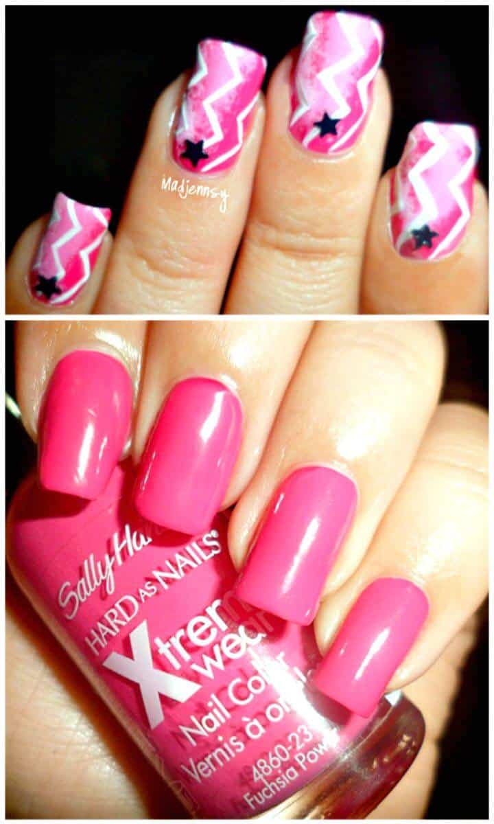 Easy Ombre Pink Zig Zag Chevron Nail Art