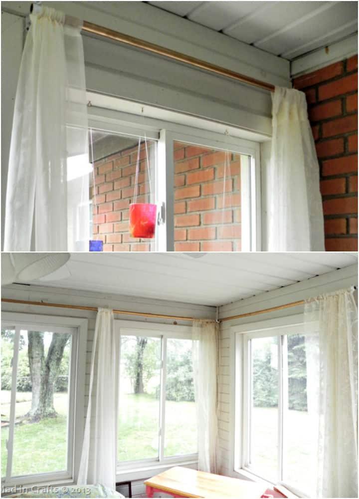 Varillas de cortina de conducto de PVC y hardware de varilla de bricolaje