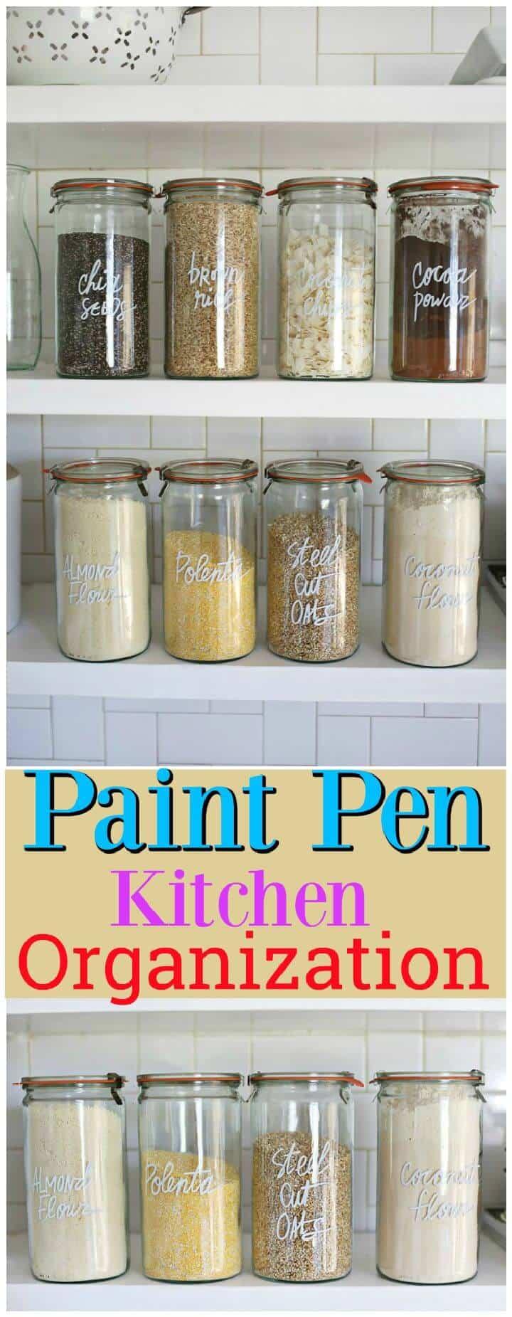 Organización de la cocina de la pluma de pintura