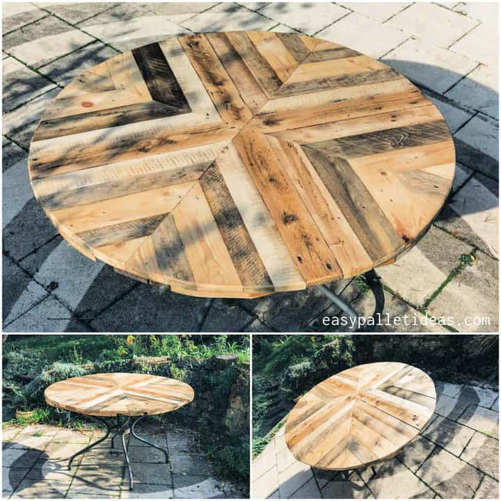 Mesa de centro de paleta Mesa de centro redonda DIY Mesa de centro de granja Mesa de centro al aire libre Mesa de bricolaje