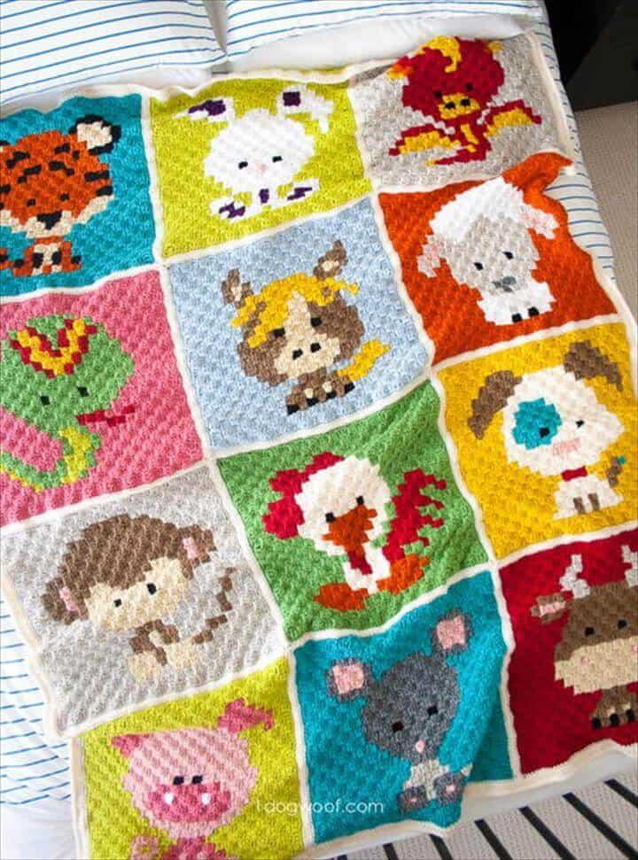 Patrón de manta zoodiacs de patchwork de ganchillo