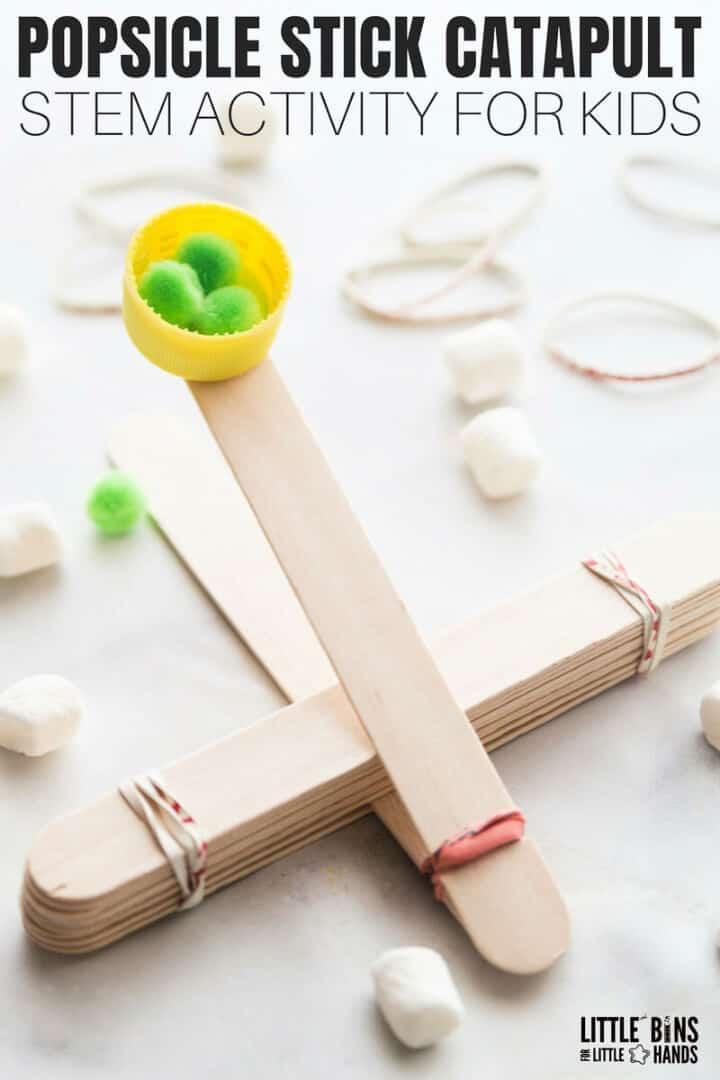 Actividad de tallo para niños de catapulta de palitos de paleta